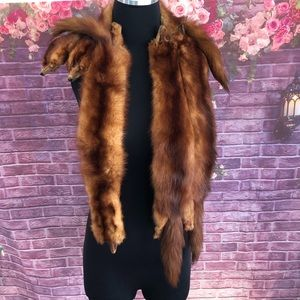 Vintage 1940's 5 Full Mink Fur Stole with Clasp